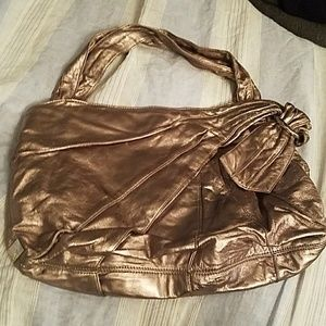 """KOOBA """"Molly"""" Pewter Leather Hobo Tote"""